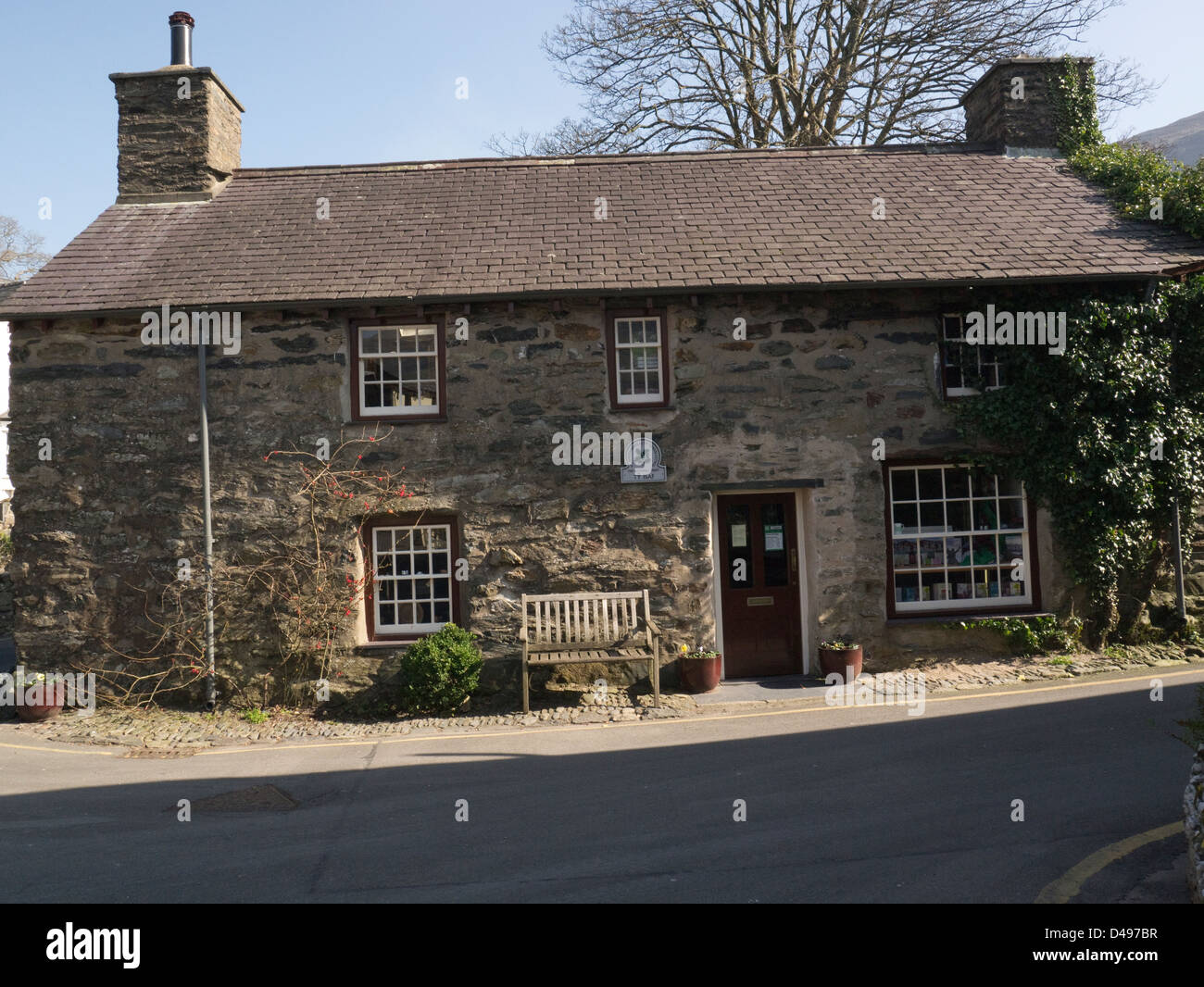 Beddgelert Gwynedd North Wales Ty Isaf is 17th c building managed by National Trust houses shop and exhibition - Stock Image