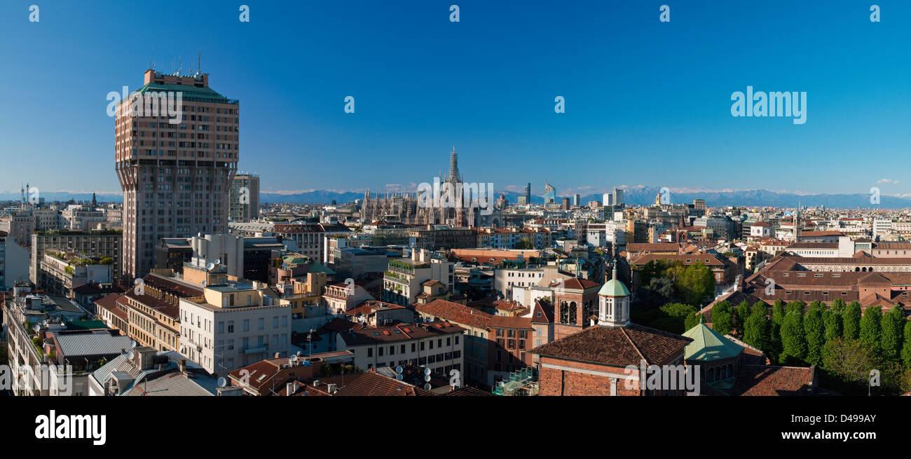 Panoramic View of the Skyline of Milano (Italia) - Stock Image