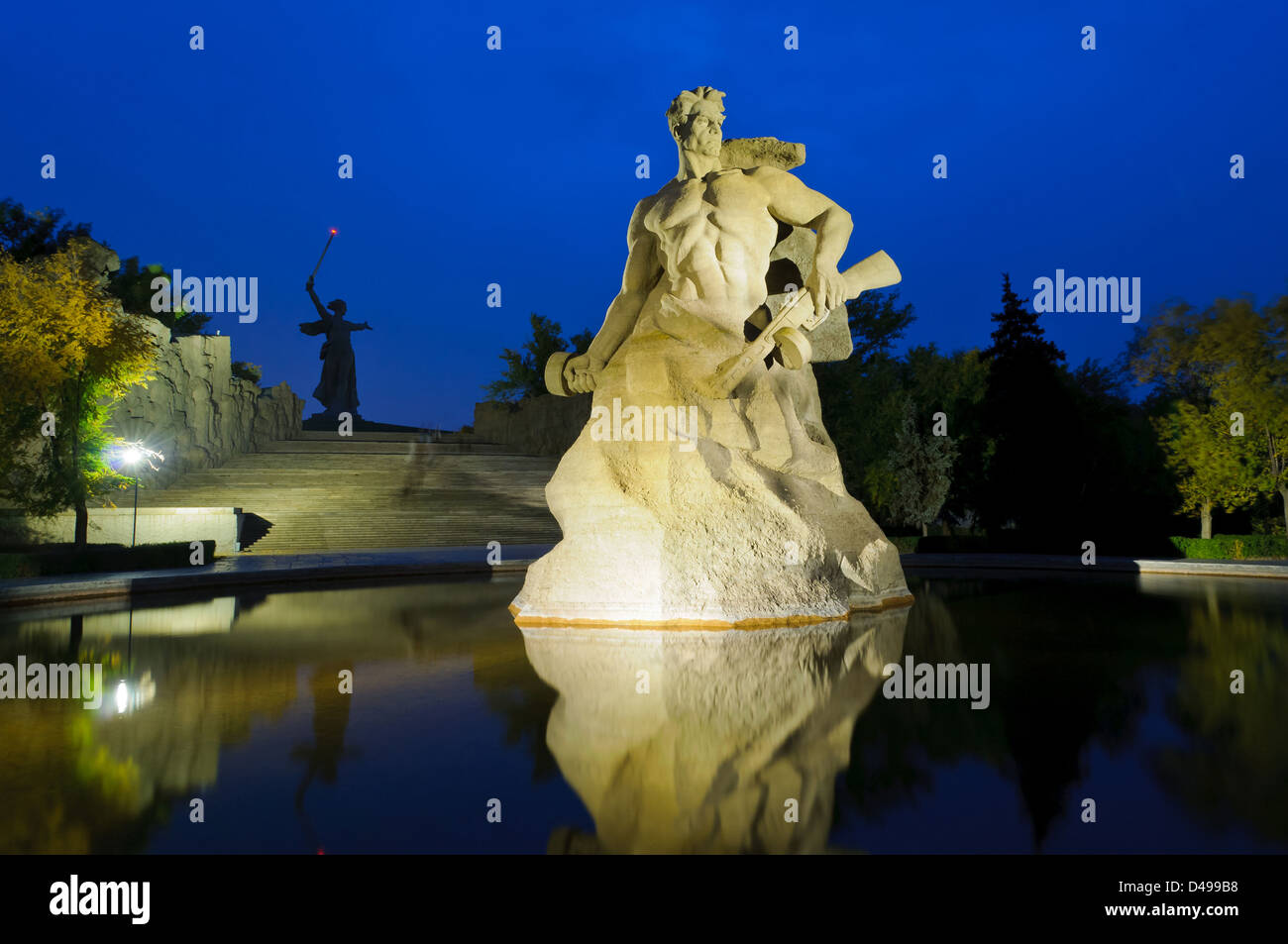 The Mamayev (Motherland Calls) monument in Volgograd, Russia, at night - Stock Image