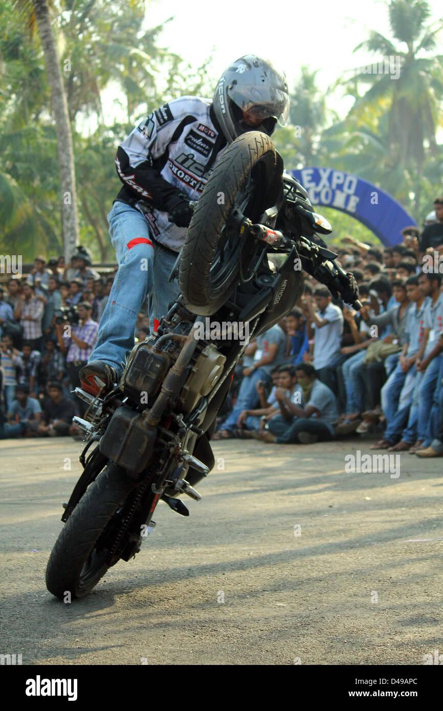 Kerala based GHOST RYDERZ performing bike stunts - Stock Image