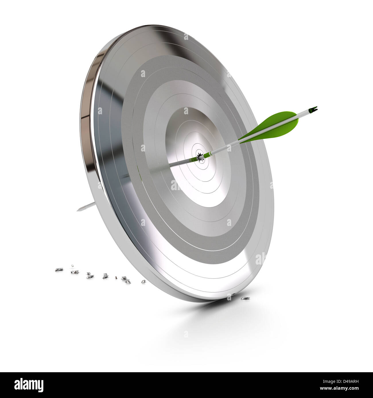 one green arrow pierce a metal target over white background, symbol of overcome difficulties - Stock Image