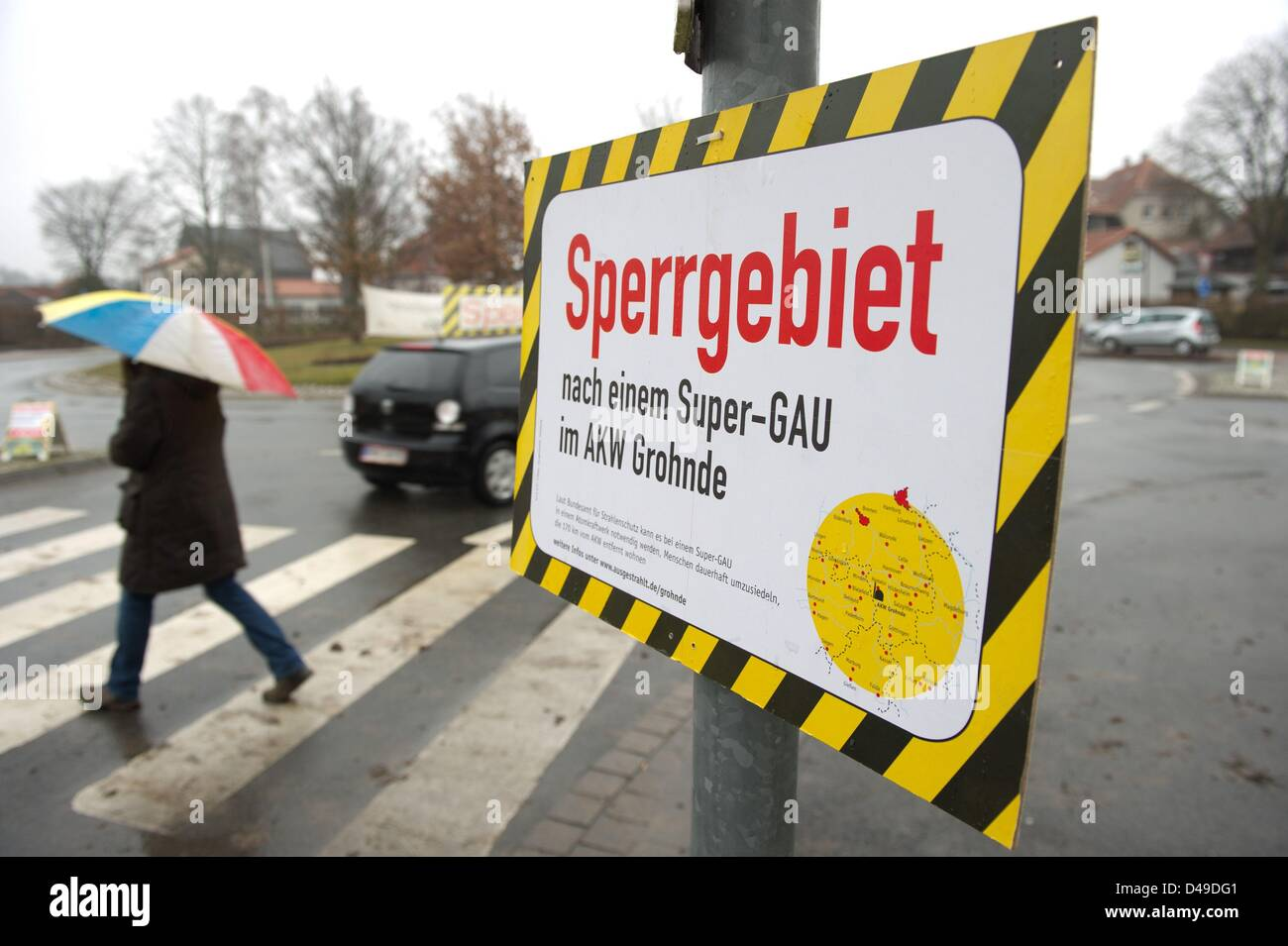 A sign reads 'restricted area' in Lamspringe, Germany, 9 March 2013. The environmental group Robin Wood - Stock Image