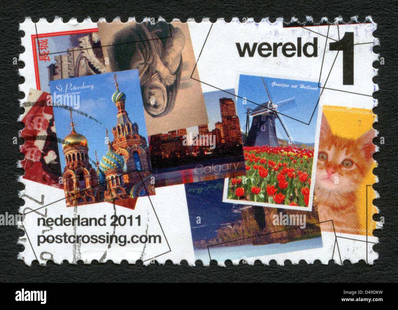 Netherlands postage stamp - Postcrossing postcard exchange - Stock Image