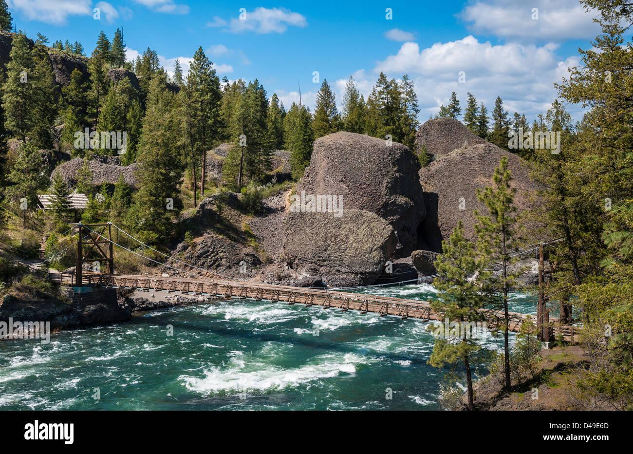 Spokane River at Bowl & Pitcher area of Riverside State Park; Spokane, Washington. Stock Photo