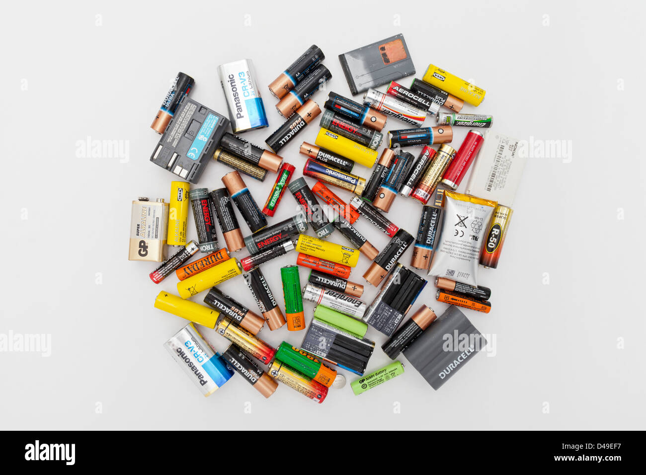 Dead batteries to go for recycling - Stock Image