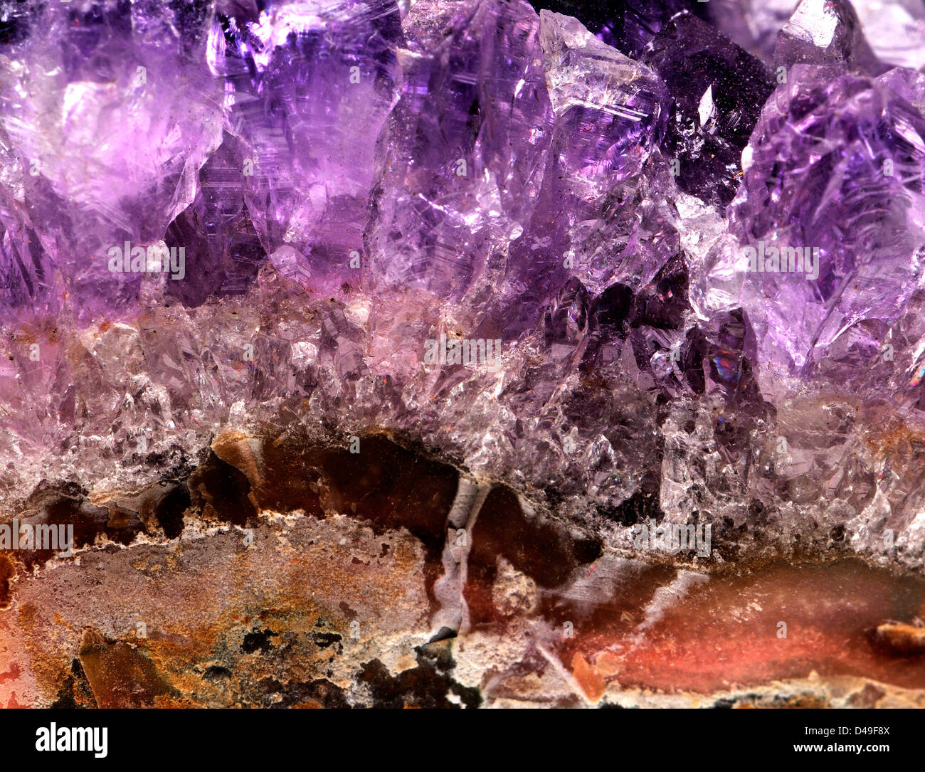Amethyst crystals (purple quartz) on matrix - Stock Image