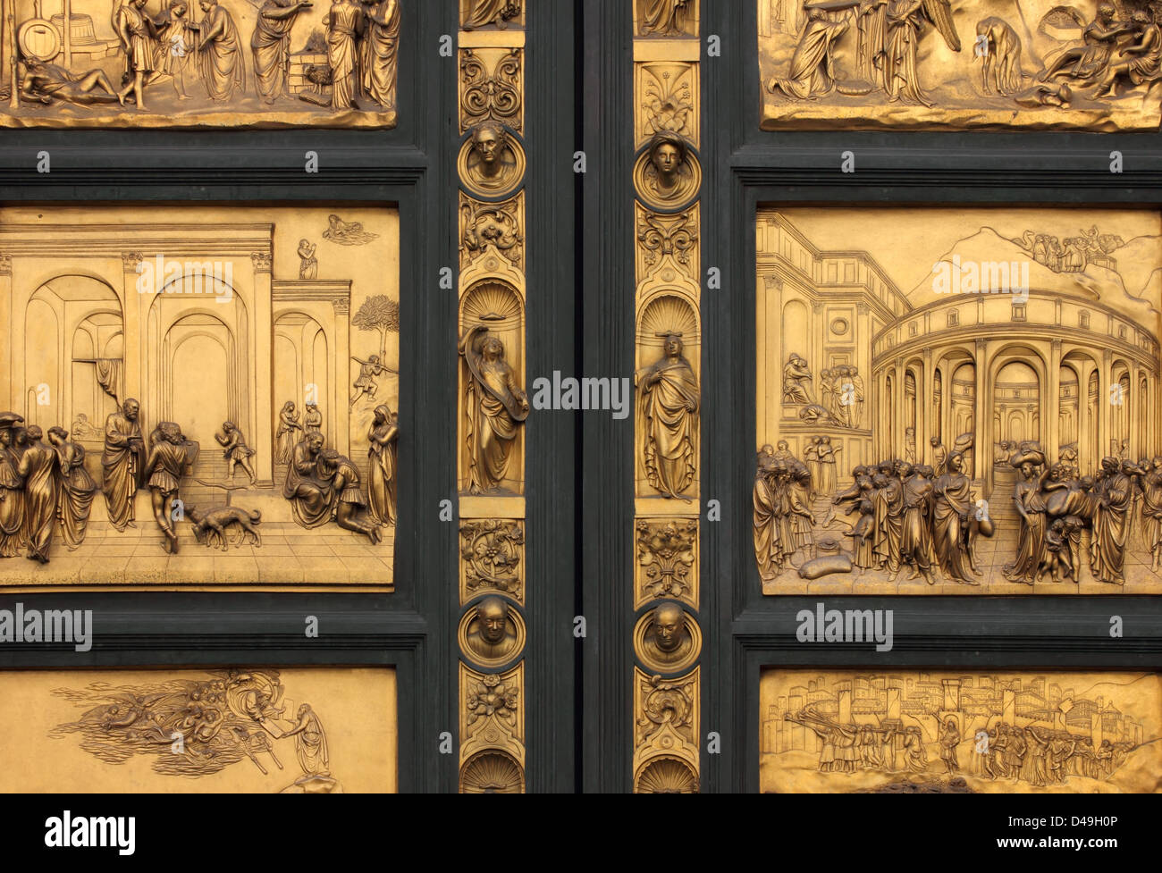 Detail of the Doors of Paradise in Battistero di San Giovanni, Florence, Italy. - Stock Image