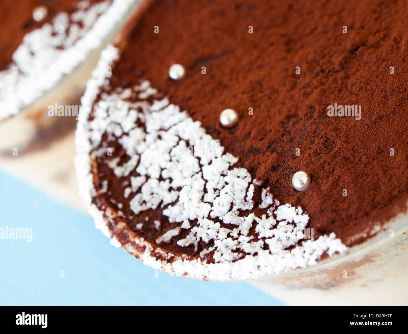 Tiramisu mousse with custom decoration served in plastic cup Stock on