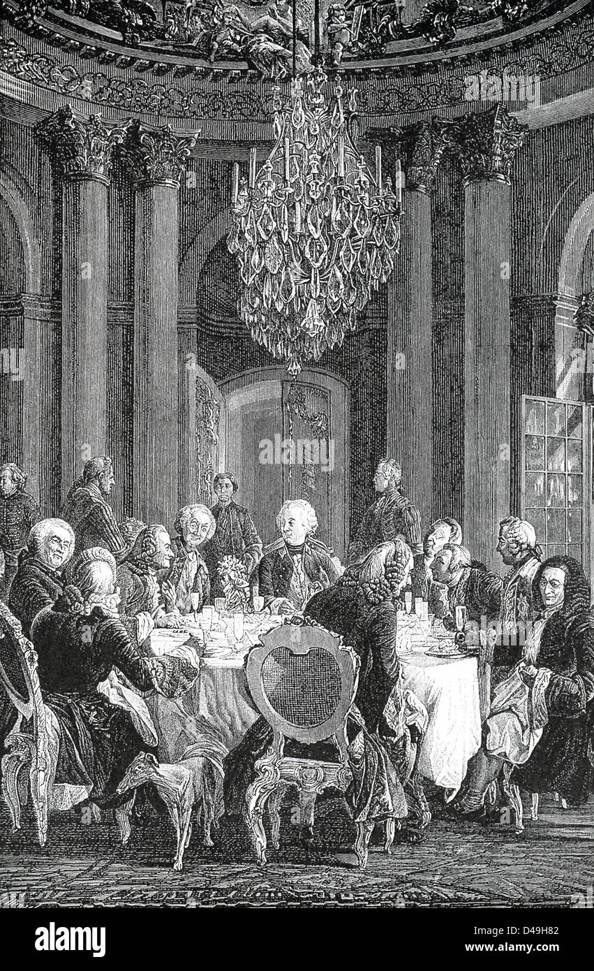 Frederick the Great admired French wit and culture, and gathered round him writers and others in his palace of Sans - Stock Image
