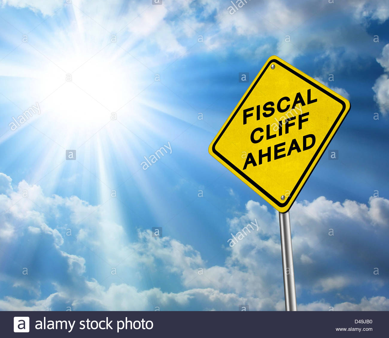 Fiscal Cliff Ahead - Stock Image