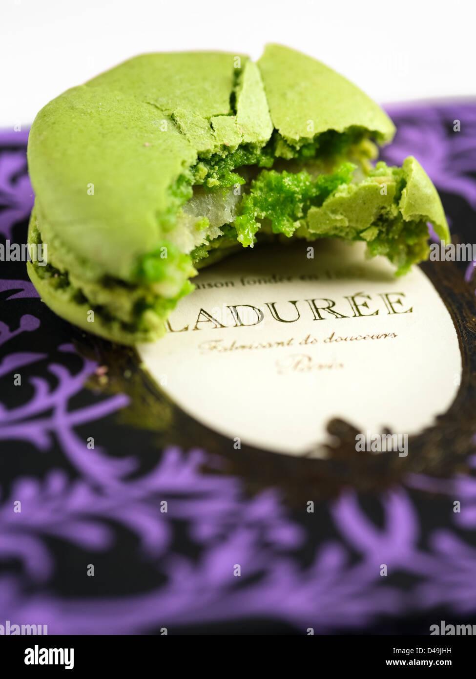 One Macaron on Box Laduree - Stock Image