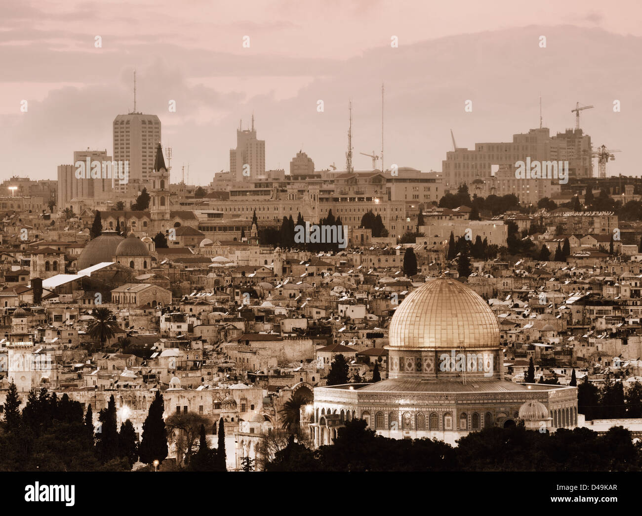 Old and New City of Jerusalem, Israel. - Stock Image