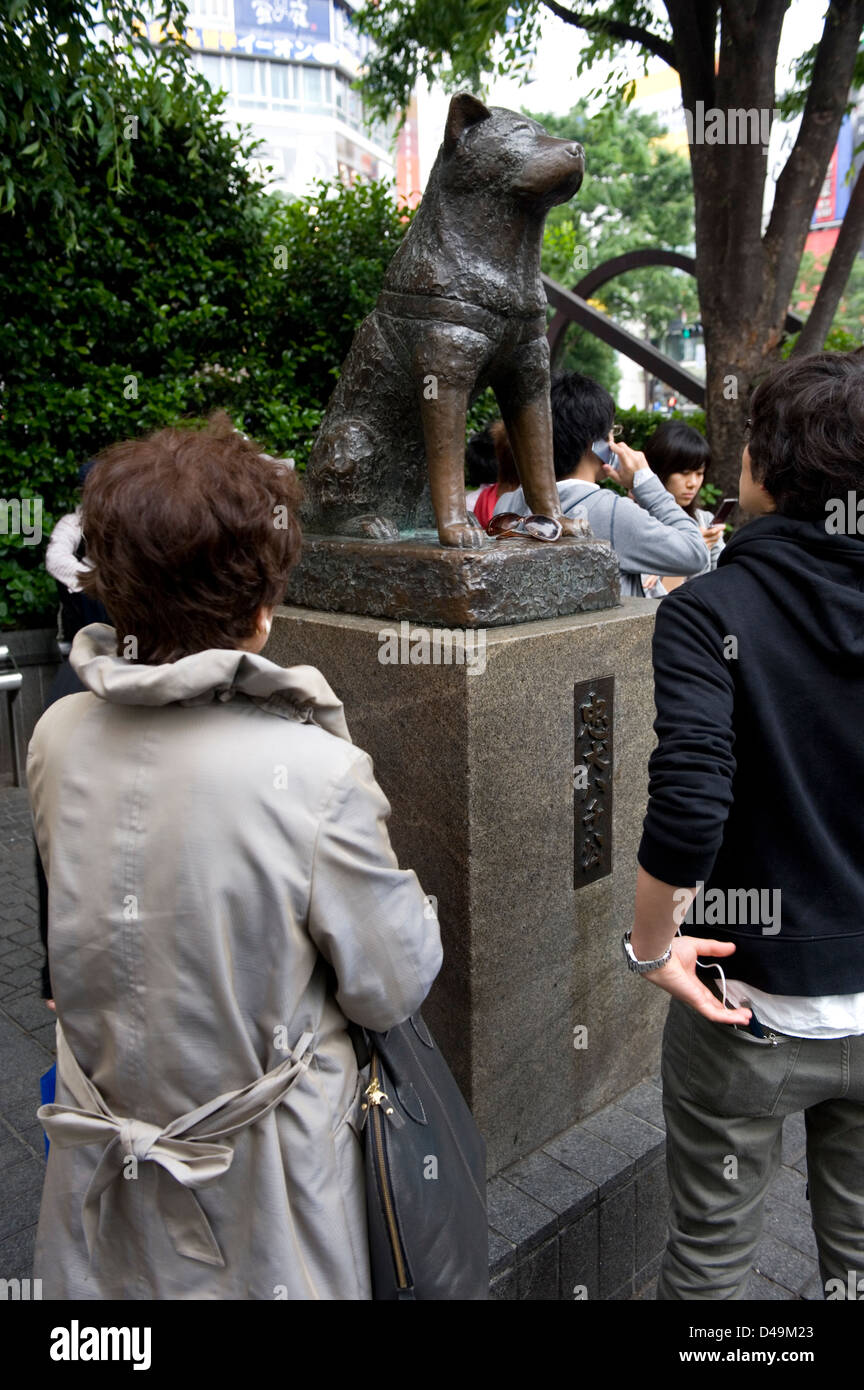 Bronze statue of the faithful pet dog Chuken Hachiko is a popular meeting place in the trendy Shibuya district of - Stock Image