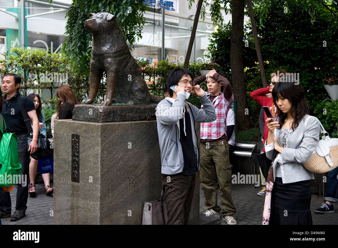 The famous 'faithful dog' statue of Chuken Hachiko in Shibuya, Tokyo, Japan is a popular meeting place - Stock Image