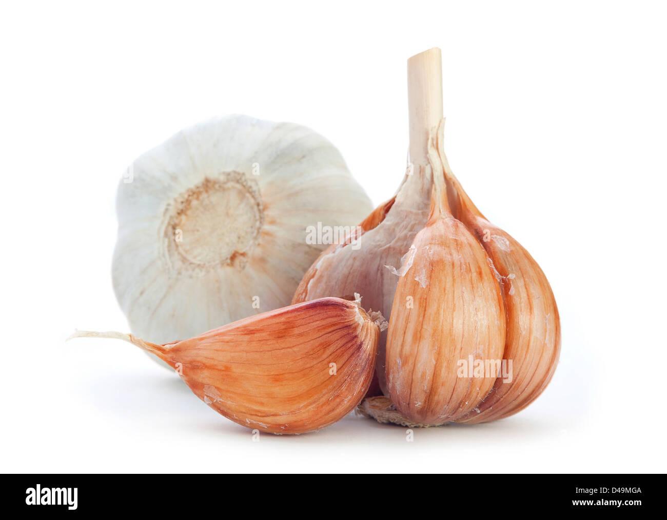Garlic vegetable on white background - Stock Image