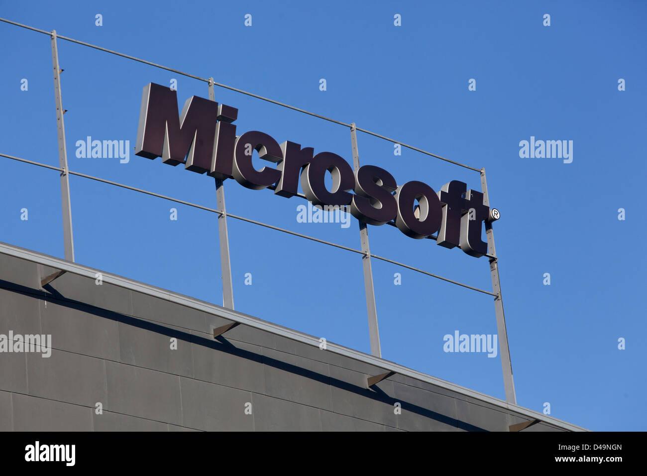The head office of Microsoft, logo, Prague, Czech Republic - Stock Image