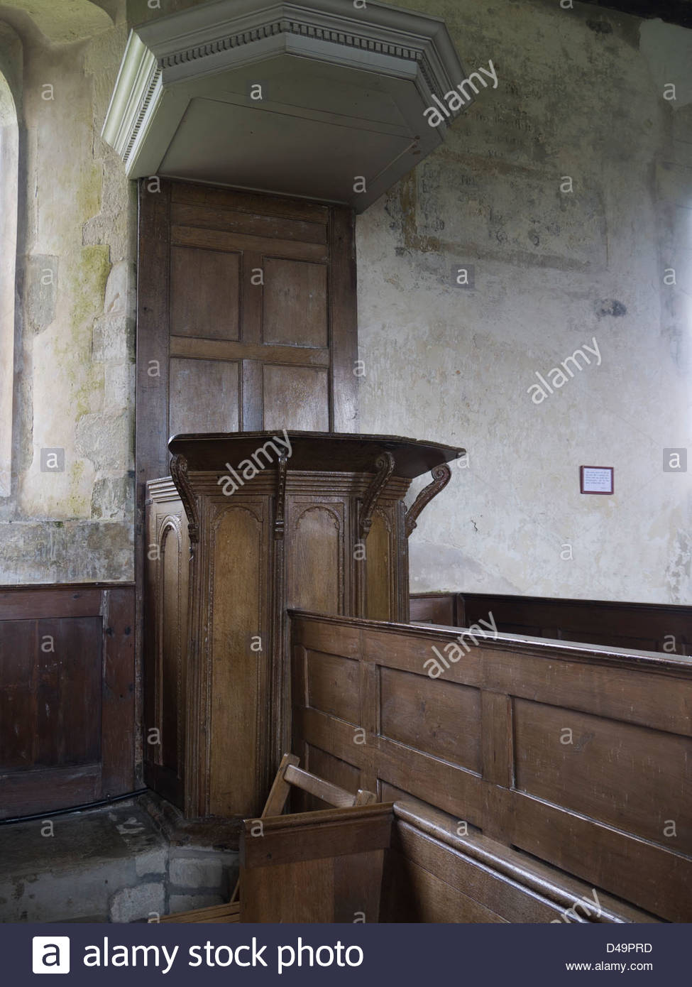 Box Pews Hampshire England, Idsworth Interiors, Old Pulpit, Seats, Stock Photo