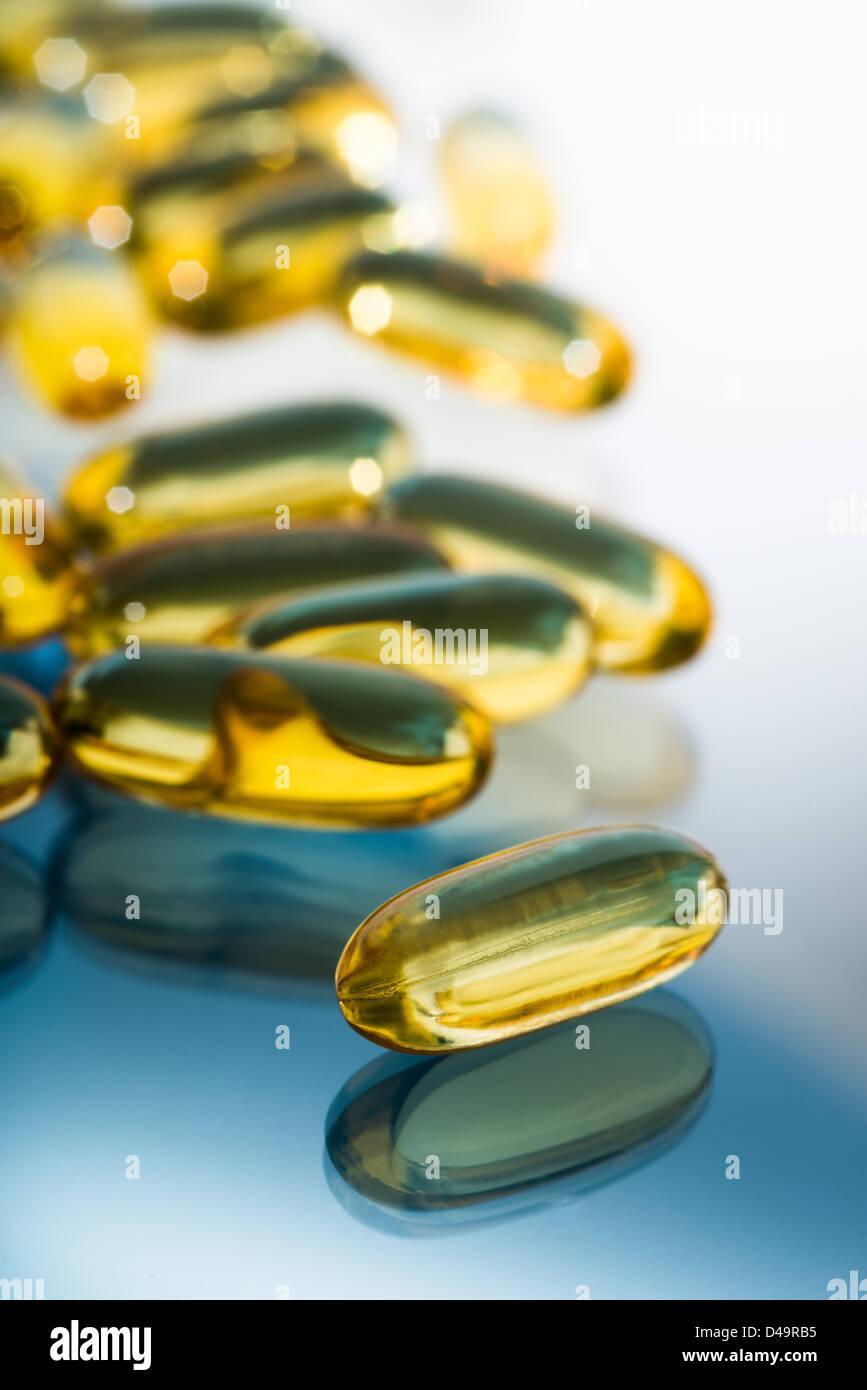 Omega 3 fatty acid capsules - Stock Image