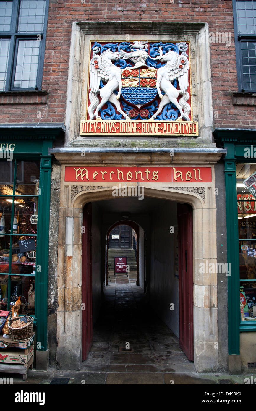 The entrance to the Merchant Adventurers' Hall - a medieval guildhall - in the city of York, Fossgate, England, - Stock Image
