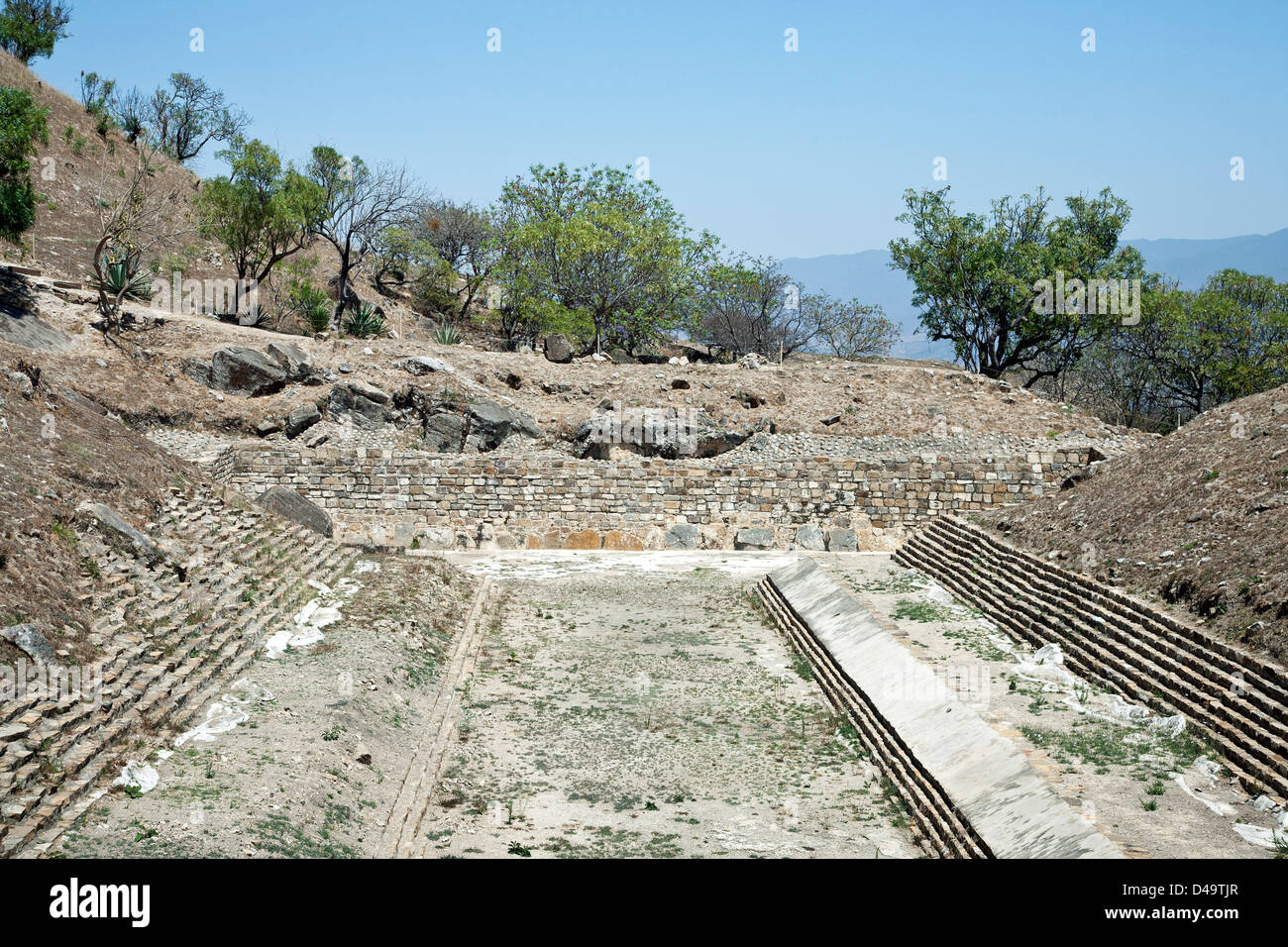 view large Ball Court between lower level & mid level Plazas of restored recently opened pre Columbian Atzompa - Stock Image