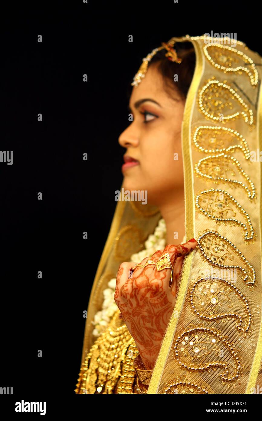 profile of a muslim bride. India - Stock Image