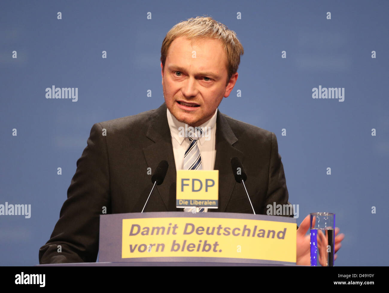 Berlin, Germany, 9th March, 2013The chairman of North Rhine-Westphalia's FDP, Christian Lindner, delivers a - Stock Image