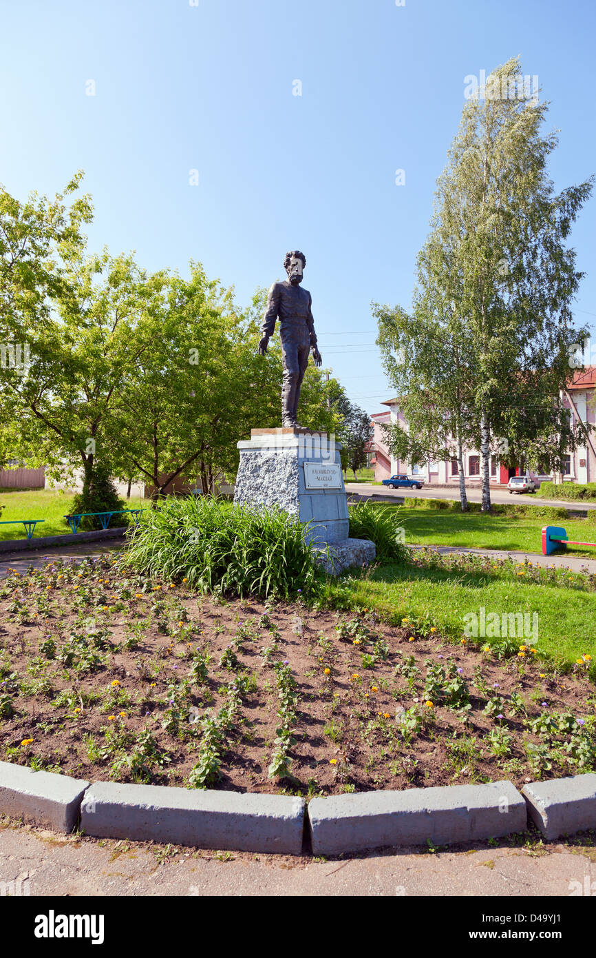Nikolai Miklukho Maclay - Russian ethnographer, anthropologist, biologist and traveler. Monument in Okulovka, Novgorod - Stock Image