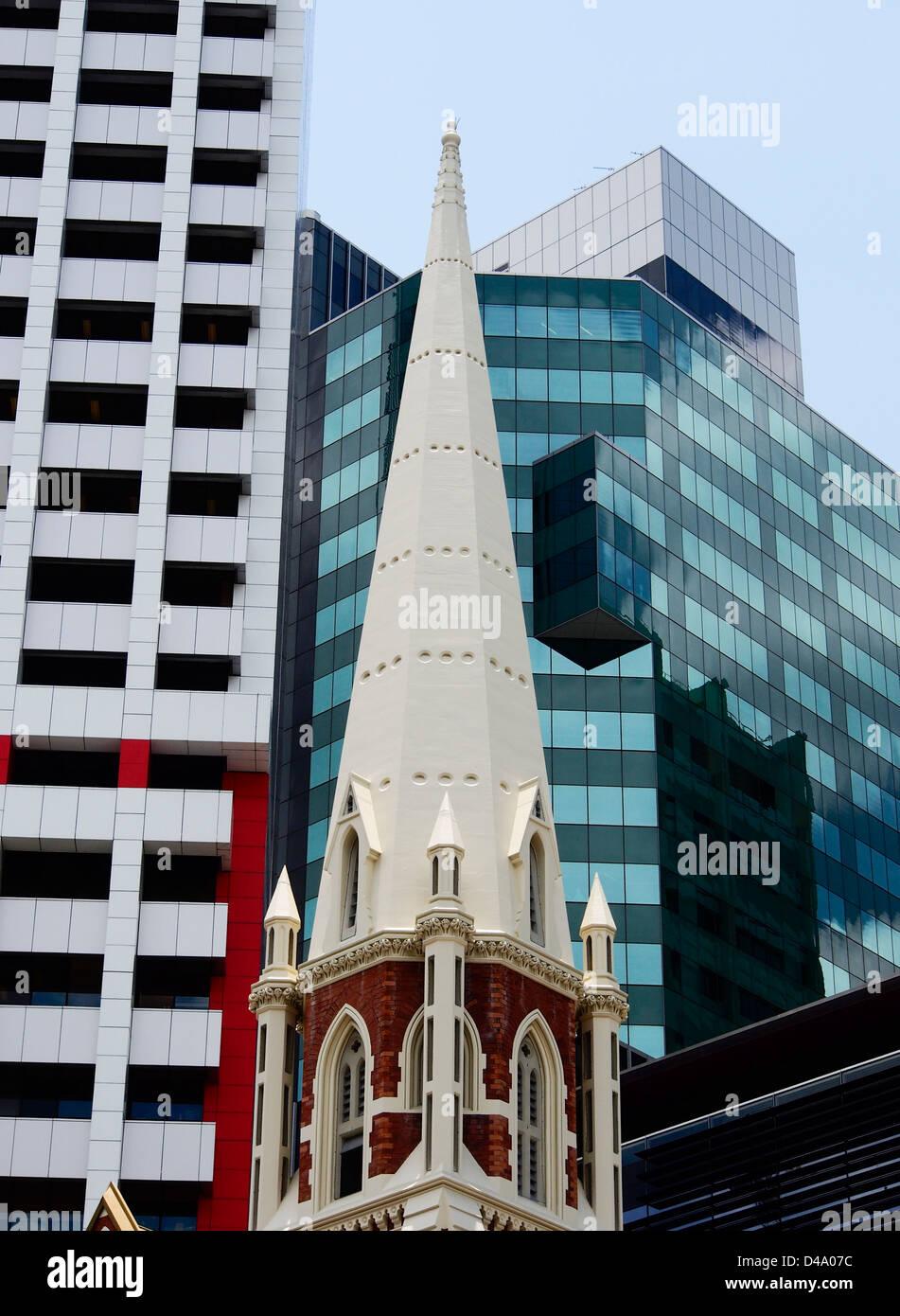 SPIRE OF ALBERT STREET UNITING CHURCH BRISBANE QUEENSLAND AUSTRALIA - Stock Image