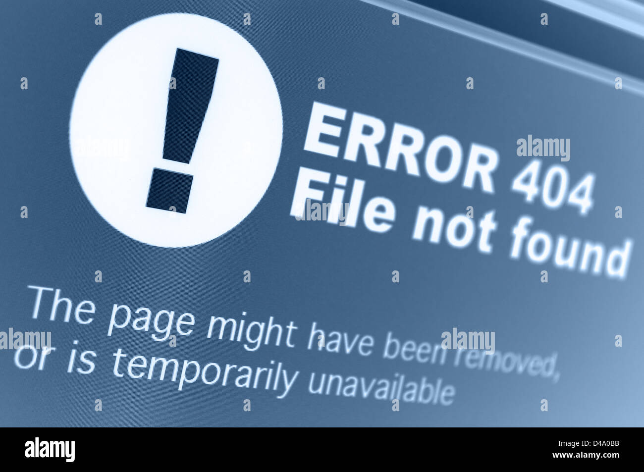 Closeup of 404 Error Sign in Internet Browser on LCD Screen - Stock Image