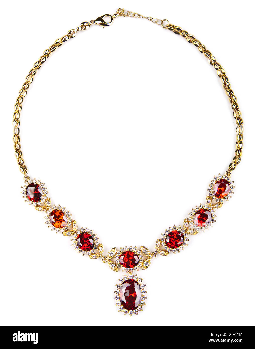 gold necklace with gems isolated - Stock Image
