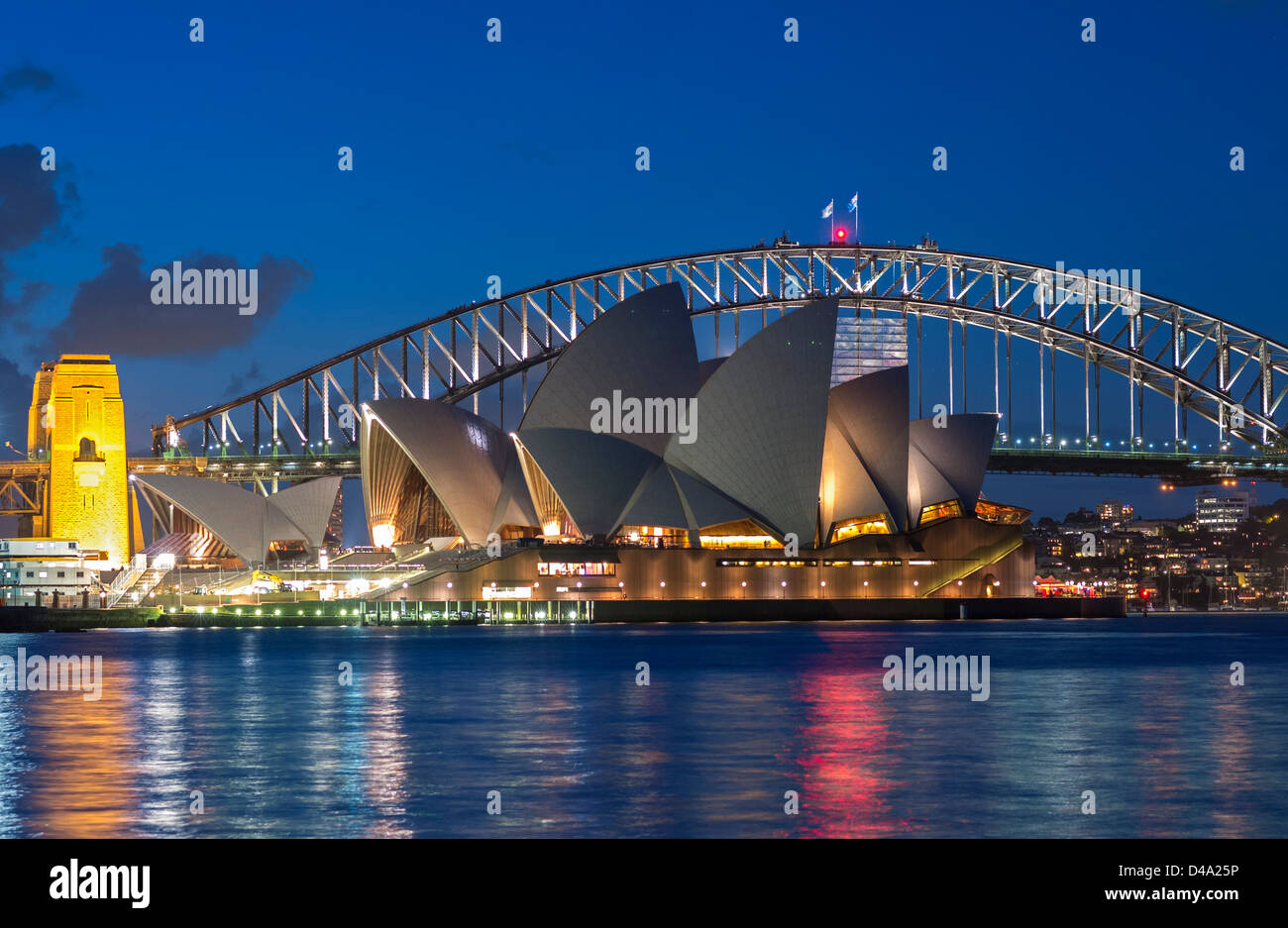 view sydney opera house and harbour bridge at night in australia D4A25P - 50+ Images Of Sydney Opera House At Night  Pictures