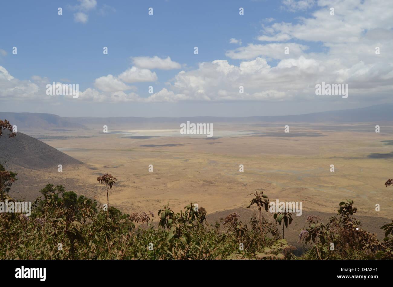 A view of the Ngorogoro Crater interior, Tanzania Stock Photo