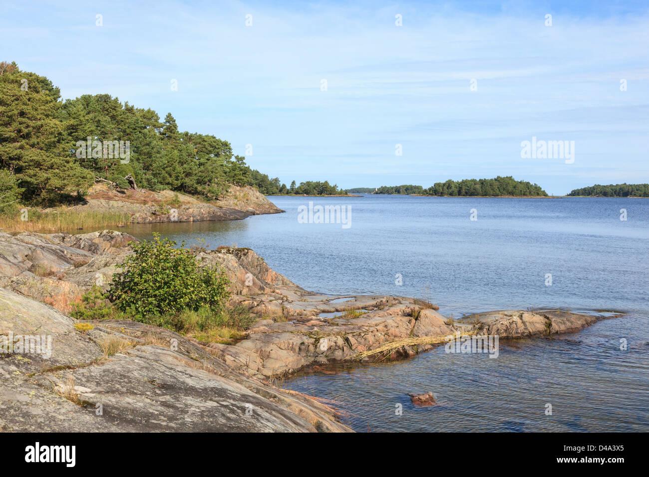 Archipelago in lake Vanern in Sweden - Stock Image