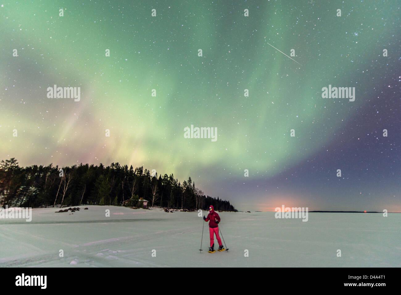 Aurora Borealis (Northern Light) on the frozen sea near Lulea Lapland Sweden Scandinavia - Stock Image