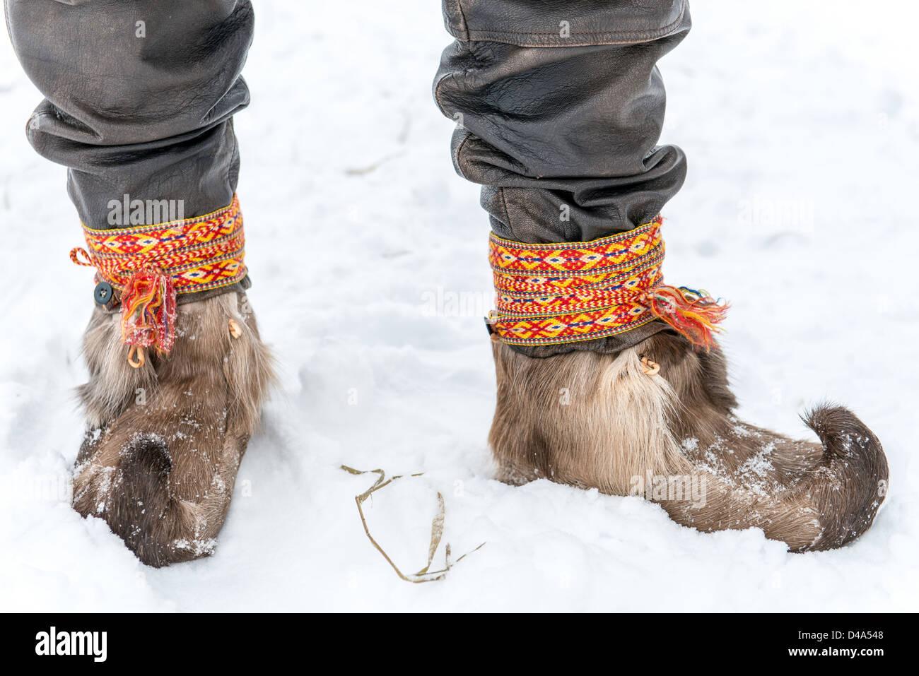 Sami people man Swedish Lapland  Sweden Scandinavia - Stock Image