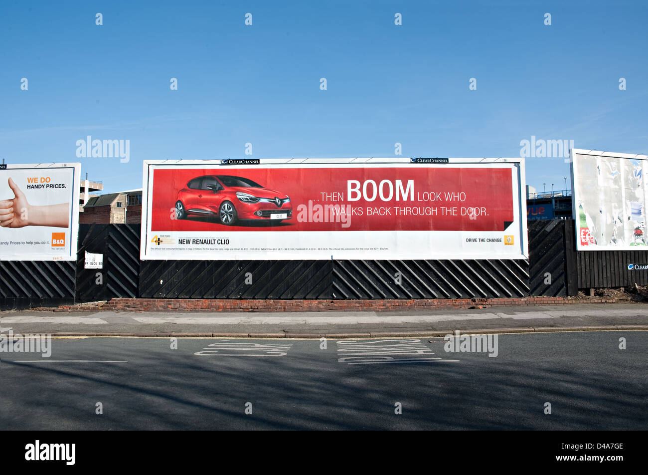Several large advertising billboards, UK. - Stock Image