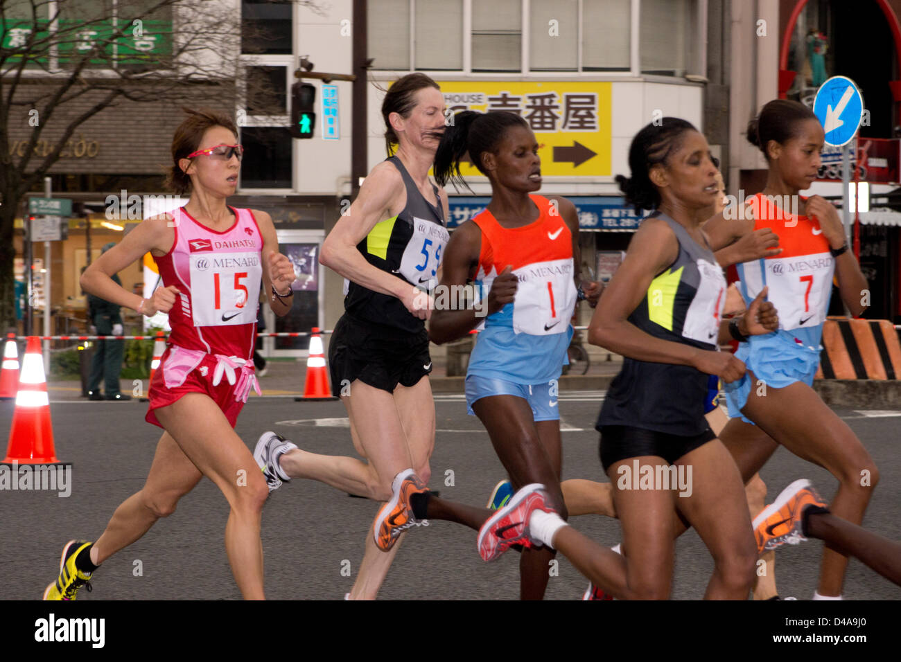 Nagoya, Japan. 10th March, 2013. nagoya womens marathon race leaders at the 22 km poinit from right to left: berhane - Stock Image