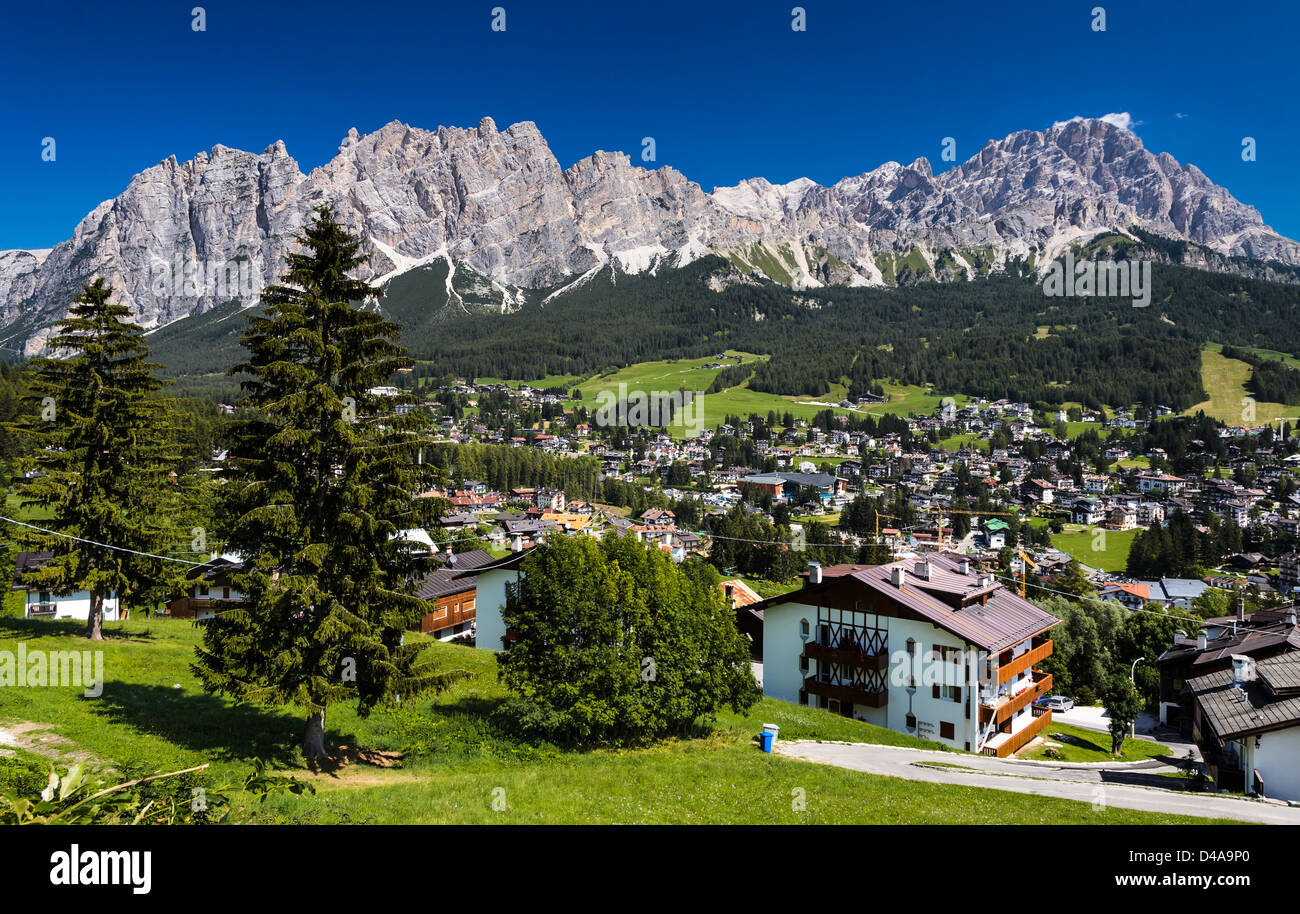 Cortina d'Ampezzo it is a popular mountaineering city, located in the heart of the Dolomites in an alpine valley. - Stock Image