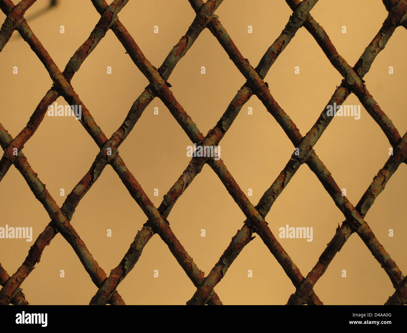fence made by iron net lozenge shaped - Stock Image