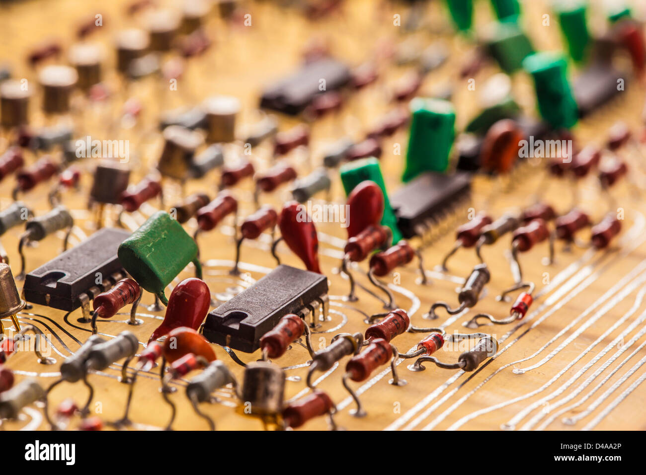 Vintage populated printed circuit board - Stock Image