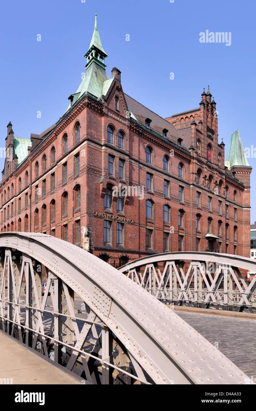 Hamburg, Germany, and Brueckenbogen Sandthorquaihof Stock Photo
