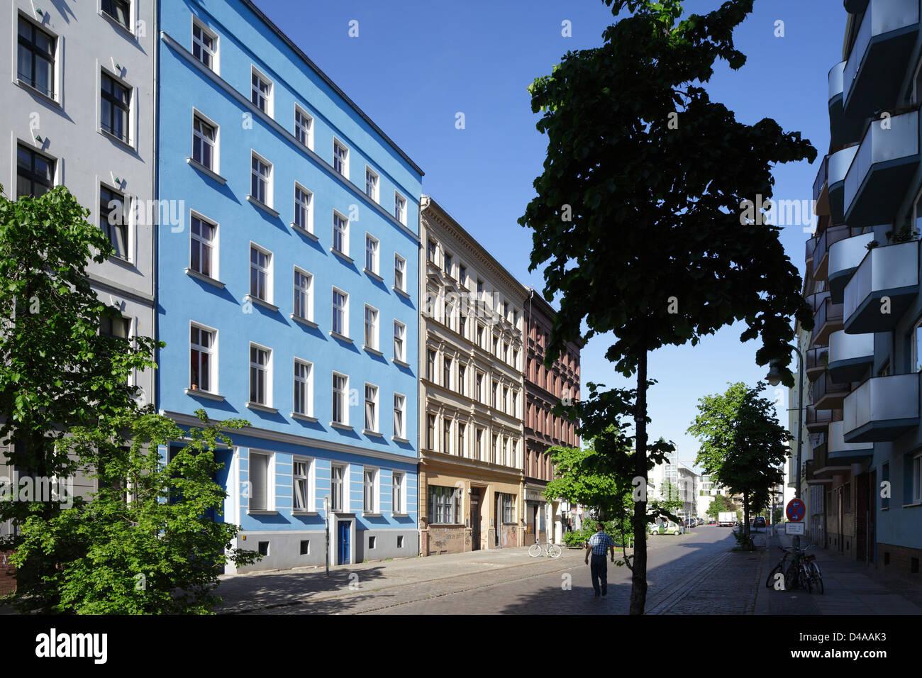 Berlin, Germany, and closed off pedestrian Waldemar in Berlin-Kreuzberg - Stock Image