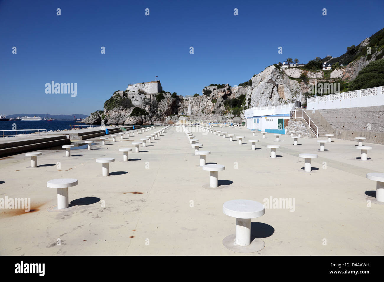 Picnic tables at the recreational area of the Keys Promenade in Gibraltar - Stock Image