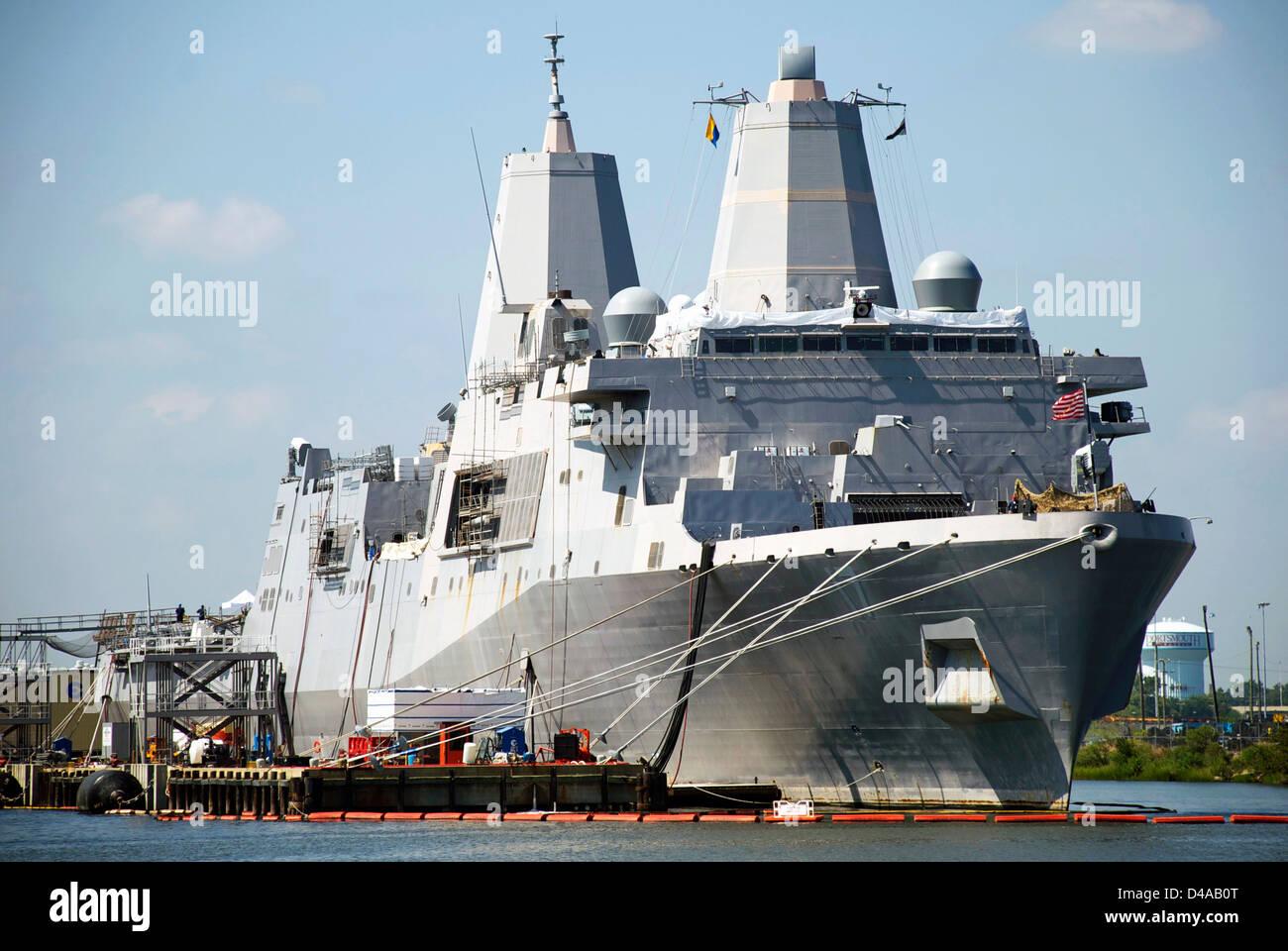 The USS San Antonio (LPD 17), an amphibious transport dock ship, undergoes repairs at a Portsmouth, Virginia, shipyard. Stock Photo