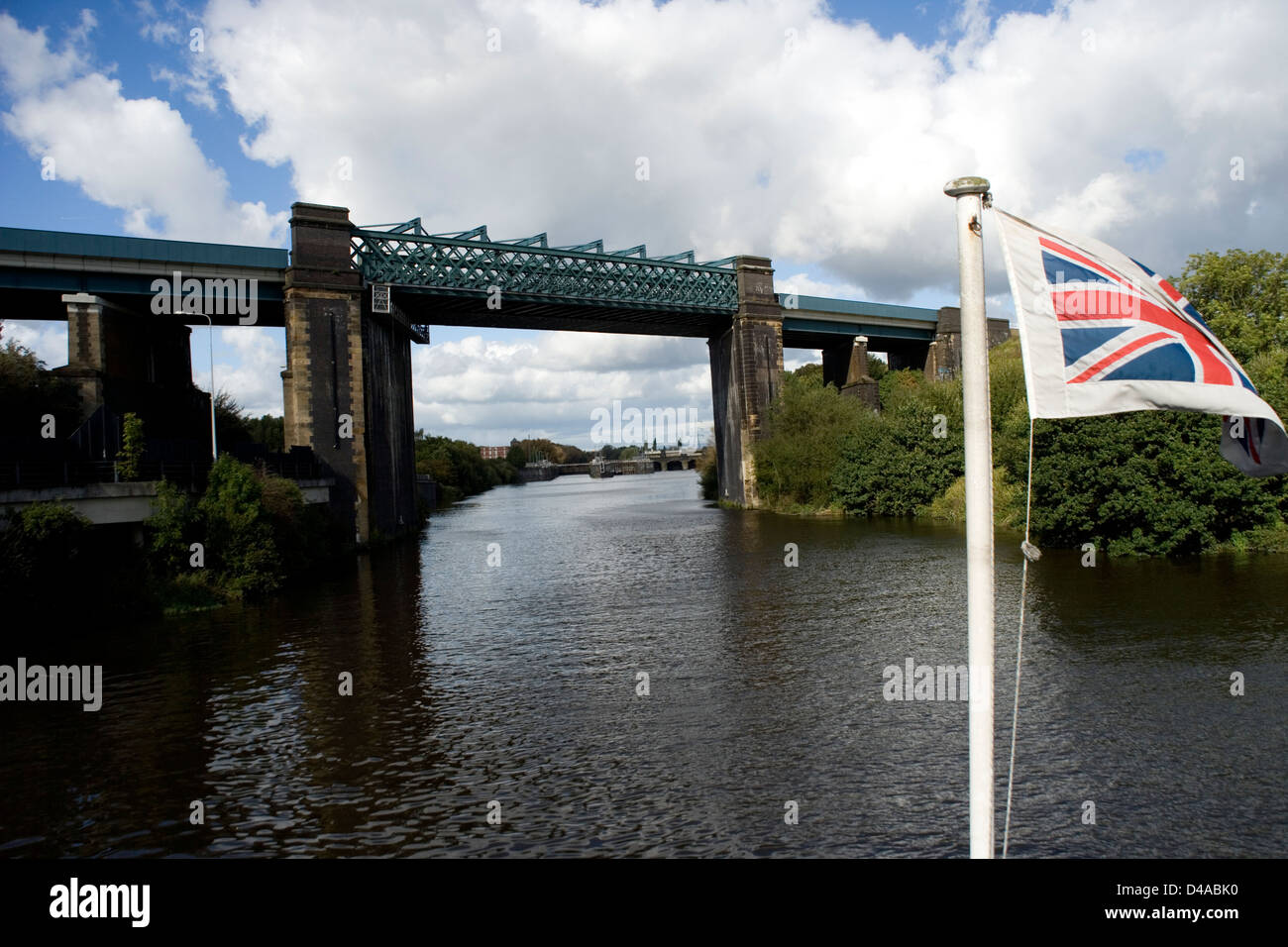 Irlam Viaduct on the Manchester ship Canal from the Mersey Ferry - Stock Image