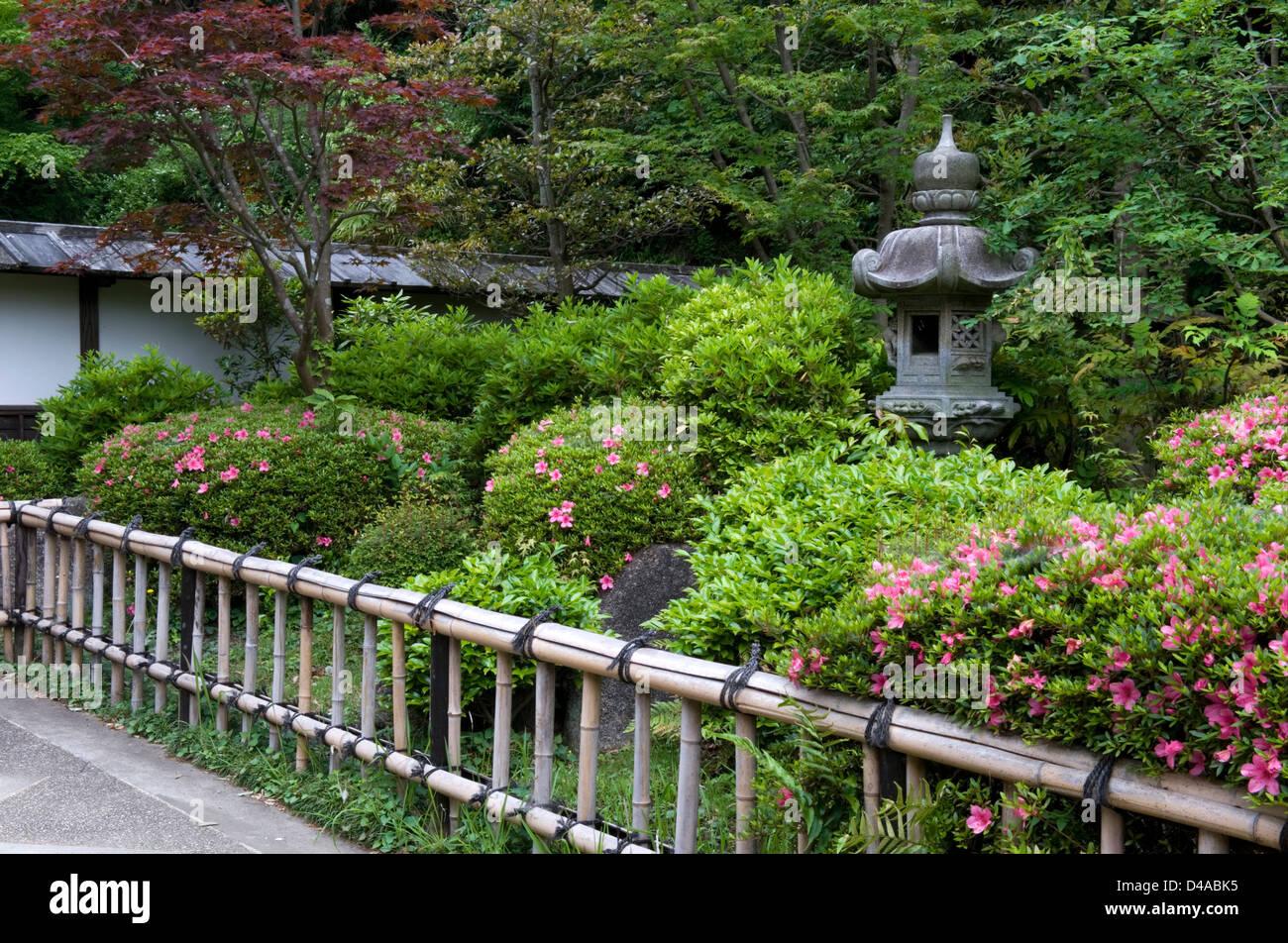 Stone Lantern And Bamboo Fence With Azalea Bushes In ...