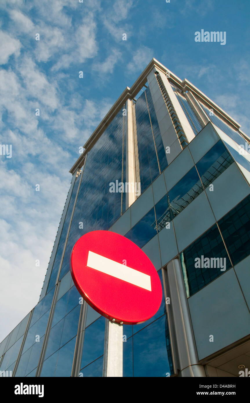 No entry road sign and office building. Mendez Alvaro street, Madrid, Spain. - Stock Image
