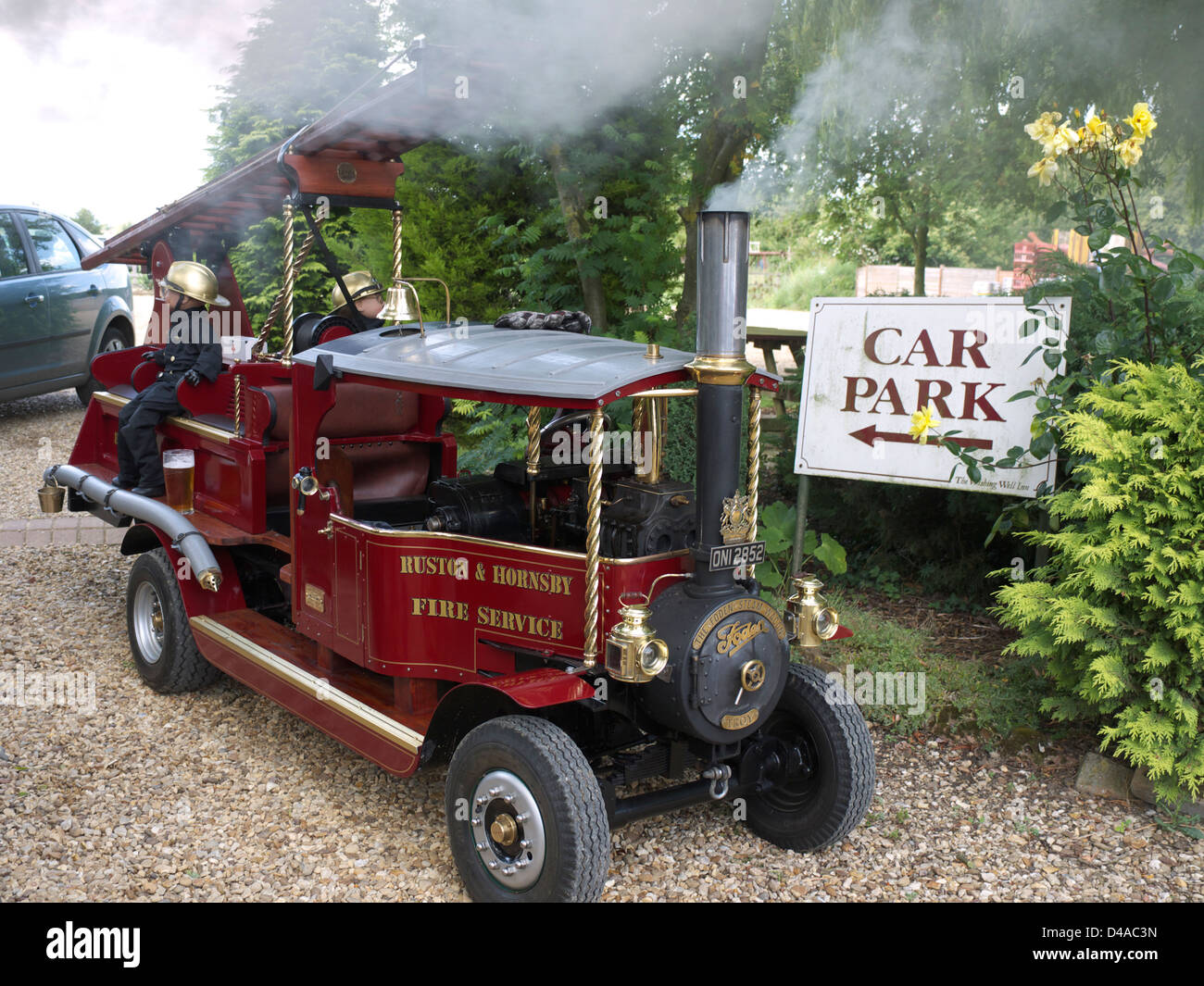 Miniature Ruston & Hornsby fire appliance at Morton Steam and Vintage rally, June 20111 - Stock Image