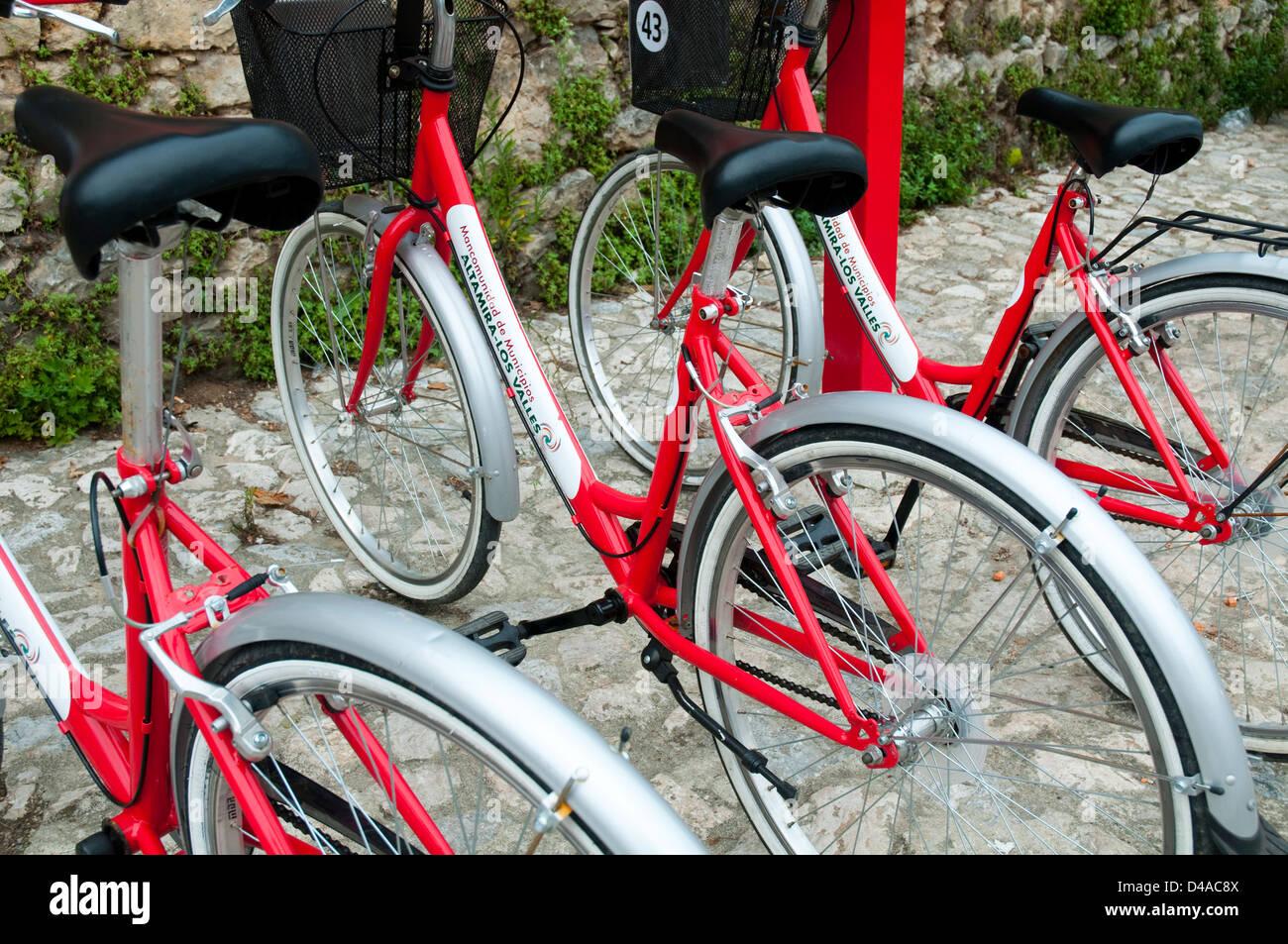 Bikes hire. Santillana del Mar, Cantabria, Spain. - Stock Image