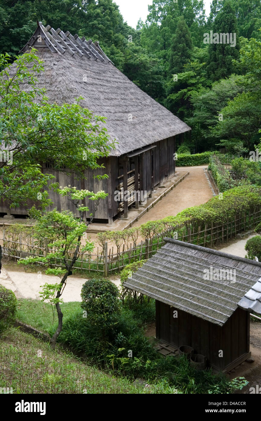 Historic thatched roof countryside village residences at Nihon Minkaen (Open-air Folk House Museum) in Kawasaki, - Stock Image